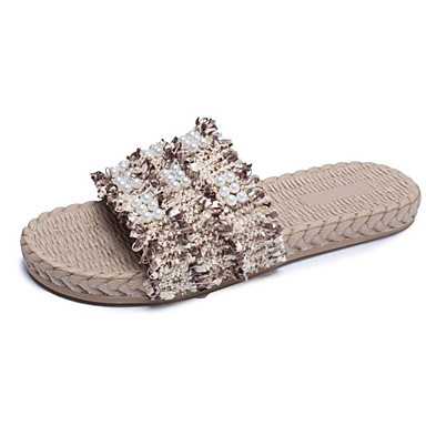 voordelige Damespantoffels & slippers-Dames Slippers & Flip-Flops Platte hak Katoen Informeel Zomer Wit / Zwart / Khaki / Kleurenblok