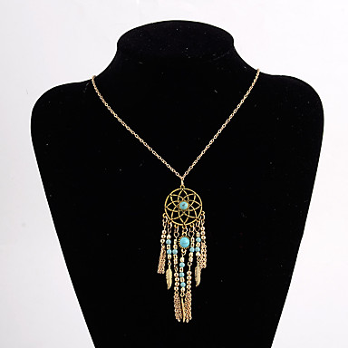 Γυναικεία Πράσινο Κρεμαστό Οβάλ Ονειροπαγίδα Γλυκός χαριτωμένο στυλ Χρώμιο Χρυσό Ασημί 78 cm Κολιέ Κοσμήματα 1pc Για Γάμου Αρραβώνας Κλαμπ Φεστιβάλ