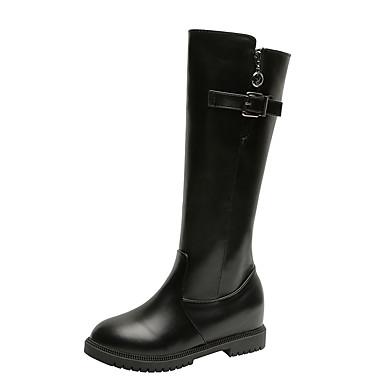 voordelige Dameslaarzen-Dames Laarzen Lage hak Ronde Teen PU Knielaarzen Klassiek / Informeel Herfst winter Zwart / Bruin
