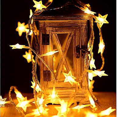 6m stjernestrømslampe 40 leds varm hvit / fargeskiftende fest bryllup juledekorasjon aa batterier drevet 1pc