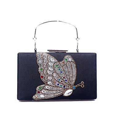 Γυναικεία Κρυστάλλινη λεπτομέρεια PU Βραδινή τσάντα Συμπαγές Χρώμα Μαύρο / Χρυσό / Ασημί / Φθινόπωρο & Χειμώνας