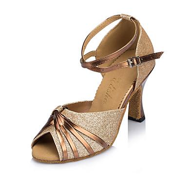 preiswerte Schuhe und Taschen-Damen Tanzschuhe Kunststoff Schuhe für den lateinamerikanischen Tanz Pailetten Absätze Kubanischer Absatz Gold / Leistung / Leder
