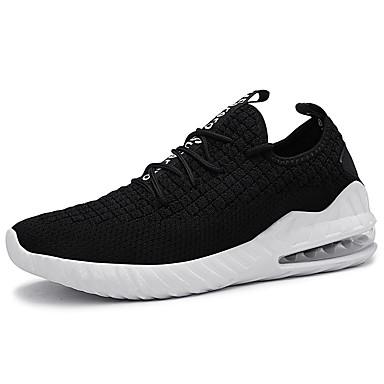 Ανδρικά Παπούτσια άνεσης Ελαστικό ύφασμα / Φουσκωτό πηνίο Καλοκαίρι Αθλητικό Αθλητικά Παπούτσια Τρέξιμο Μη ολίσθηση Μαύρο / Μαύρο / Άσπρο