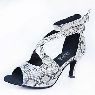 preiswerte Schuhe und Taschen-Damen Tanzschuhe PU Schuhe für den lateinamerikanischen Tanz Tierdruck Absätze Keilabsatz Maßfertigung Schwarz / Weiß / Leistung / Leder