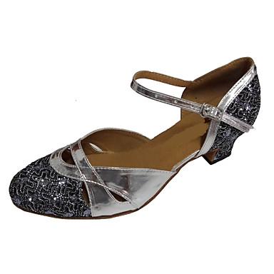 Γυναικεία Μοντέρνα παπούτσια / Αίθουσα χορού PU Λουράκι αστραγάλου Τακούνια Αστραφτερό Γκλίτερ Πυκνό τακούνι Εξατομικευμένο Παπούτσια Χορού Γκρι Ασημί / Ασημί