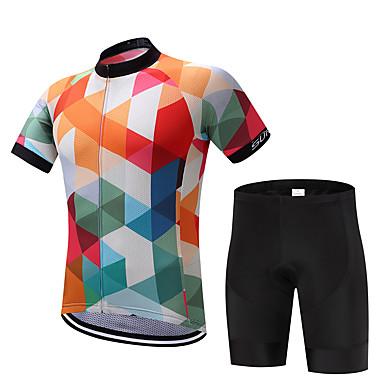 Fastcute Ανδρικά Κοντομάνικο Φανέλα και σορτς ποδηλασίας Μαύρο Καρό Ουράνιο Τόξο Ποδήλατο Ρούχα σύνολα Αναπνέει Ύγρανση Γρήγορο Στέγνωμα Ανατομικός Σχεδιασμός Αθλητισμός Καρό / Ελαστικό