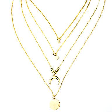 levne Dámské šperky-Dámské vrstvené Náhrdelníky Stohovatelné MOON Moderní Chrome Zlatá 63 cm Náhrdelníky Šperky 1ks Pro Denní Festival