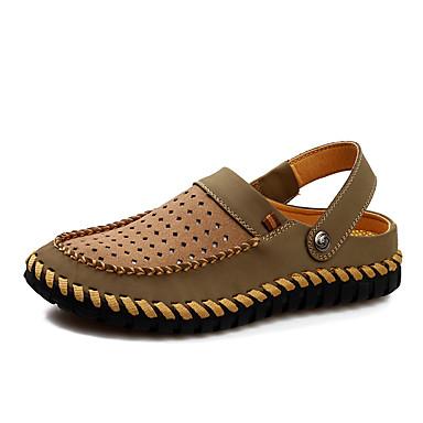Ανδρικά Παπούτσια άνεσης Δερμάτινο Καλοκαίρι / Ανοιξη καλοκαίρι Καθημερινό Σανδάλια Αναπνέει Σκούρο καφέ / Χακί