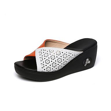 voordelige Damespantoffels & slippers-Dames Slippers & Flip-Flops Sleehak PU Zomer Oranje