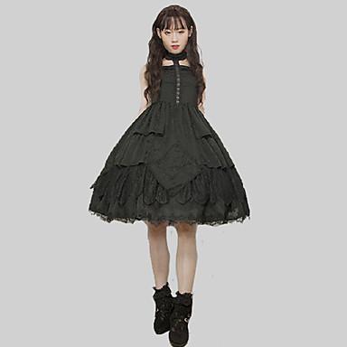 Gothic Style Γοτθική Λολίτα Γκόθικ Φορέματα Κοστούμι πάρτι Κοκτέιλ Φόρεμα Φόρεμα για πάρτυ Γυναίκα Ιαπωνικά Κοστούμια Cosplay Μαύρο Μονόχρωμο Ραμμένη Δαντέλα Δαντέλα Αμάνικο Αμάνικο Midi