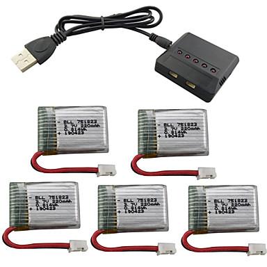 Eachine E010 GoolRC T36 NINHUI NH010 F36 Holy stone HS210 3.7V 220mAh 1set batteri Rc Kvadrokoptere Rc Kvadrokoptere Rask lading / Beste kvalitet / 5 i 1