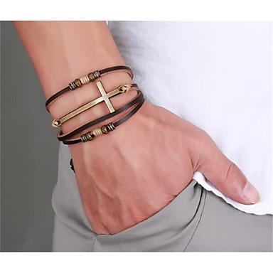 levne Pánské šperky-Pánské Kožené náramky Pletený Haç Šťastný stylové PU kůže Náramek šperky Kávová Pro Denní Dovolená