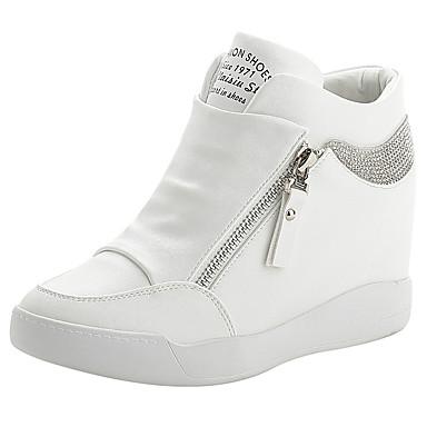 Γυναικεία Αθλητικά Παπούτσια Κρυφό τακούνι PU Άνοιξη & Χειμώνας Λευκό / Μαύρο