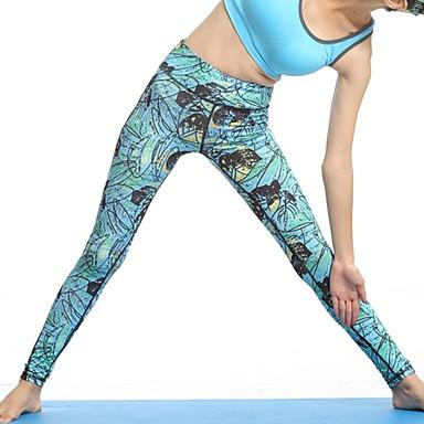 Mulheres Cintura Alta Calças de Yoga Floral / Botânico Fitness Treino de Ginástica Meia-calça Calças Roupas Esportivas Respirável Pavio Humido Secagem Rápida Butt Lift Com Stretch Skinny