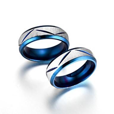 levne Pánské šperky-Pánské Dámské Snubní prsteny Band Ring Prsten 2pcs Modrá Titanová ocel Kulatý Základní Módní Dar Denní Šperky Cool / Tail Ring
