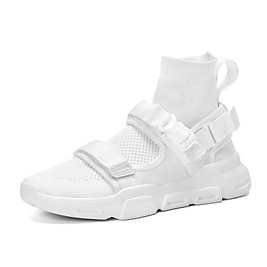 Ανδρικά Παπούτσια άνεσης Δίχτυ Καλοκαίρι / Φθινόπωρο Αθλητικό / Καθημερινό Αθλητικά Παπούτσια Τρέξιμο / Περπάτημα Αναπνέει Μπότες στη Μέση της Γάμπας Λευκό / Μαύρο