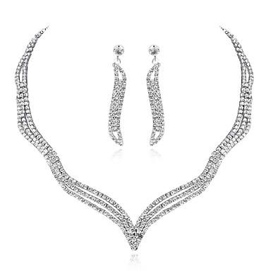Γυναικεία Κρεμαστό Σκουλαρίκι Αλυσίδα Τένις Κύμα Ευρωπαϊκό Μοντέρνο Μοντέρνα Κομψό Προσομειωμένο διαμάντι Σκουλαρίκια Κοσμήματα Ασημί Για Γάμου Πάρτι Αρραβώνας Δώρο Υπόσχεση 1set