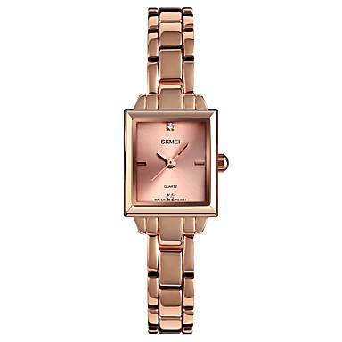 저렴한 정사각형 및 직사각형 시계-SKMEI 여성용 석영 미니멀리스트 패션 실버 로즈 골드 합금 중국어 석영 로즈 골드 실버 방수 귀여운 캐쥬얼 시계 1개 아날로그 1 년 배터리 수명