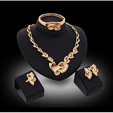 Γυναικεία Συνθετικό ρουμπίνι Νυφικό κόσμημα σετ Κλασσικό Τυχερός Κλασσικό Επιχρυσωμένο Προσομειωμένο διαμάντι Σκουλαρίκια Κοσμήματα Χρυσό Για Γάμου Πάρτι 1set