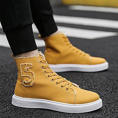 Homens Sapatos Confortáveis Lona Primavera Verão / Outono & inverno Tênis Preto / Verde / Branco