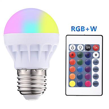 1conjunto 3 W Lâmpada Redonda LED 300 lm E26 / E27 3 Contas LED SMD 5050 Regulável Controle Remoto RGBW 85-265 V