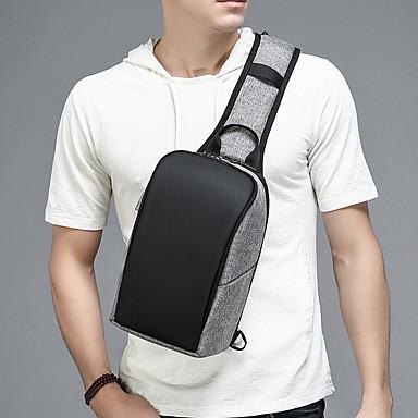 저렴한 Sling Shoulder Bags-남성용 지퍼 PVC 슬링 어깨 가방 블랙