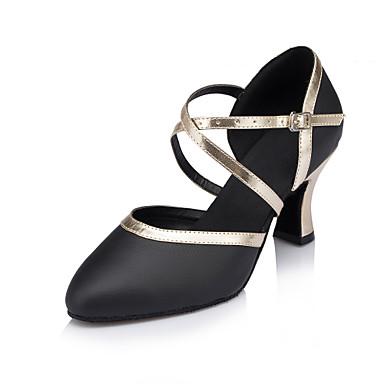 preiswerte Standardtanzschuhe & Modern Dance Schuhe-Damen Tanzschuhe Leder Schuhe für modern Dance Satin Blume / Schnalle / Glitzer Absätze Kubanischer Absatz Maßfertigung Schwarz / Mandelfarben / Weiß