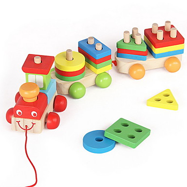 Sammenlåsende blokker Shape Sorter Toy Tog Lindrer ADD, ADHD, angst, autisme Dekompresjon Leker Foreldre-barninteraksjon Tog Bil Vanlig 3 pcs Barne Alle Leketøy Gave