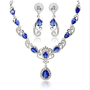 Dame Svart Blå Rød Kubisk Zirkonium Brude smykker sett Klassisk velsignet Klassisk øredobber Smykker Svart / Blå Til Bryllup Fest 1set