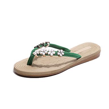 voordelige Damespantoffels & slippers-Dames Slippers & Flip-Flops Platte hak Peep Toe PU Informeel Zomer Beige / Rood / Groen