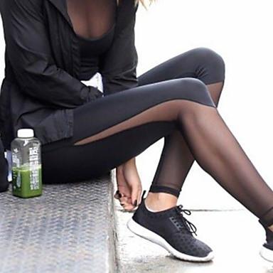 Γυναικεία Παντελόνι για γιόγκα Συμπαγές Χρώμα Δίχτυ Τρέξιμο Fitness Γυμναστήριο προπόνηση Κολάν Ρούχα Γυμναστικής Αναπνέει Ύγρανση Γρήγορο Στέγνωμα Αντίστροφη καρότσα Έλεγχος κοιλιάς Λεπτό
