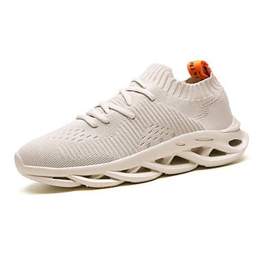 Ανδρικά Φως πέλματα Ελαστικό ύφασμα Ανοιξη καλοκαίρι Αθλητικό Αθλητικά Παπούτσια Αναπνέει Μαύρο / Λευκό / Μπεζ