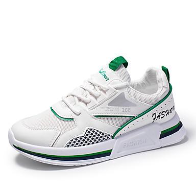 Homens Sapatos Confortáveis Couro Ecológico Primavera Verão Formais / Colegial Tênis Respirável Branco e Verde / Branco / Bege / Não escorregar