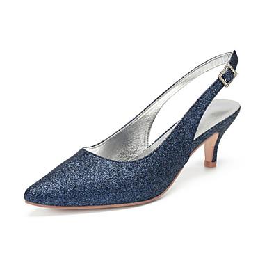 Dame bryllup sko Paljetter Liten hæl Spisstå Rhinsten / Paljett Syntetisk Vintage / Britisk Vår sommer Mørkeblå / Lysebrun / Krystall / Bryllup / Fest / aften