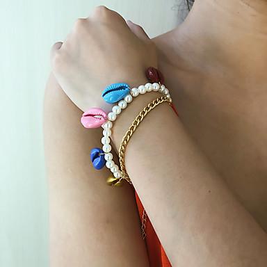 2pcs Dame Armbånd Armbånd med anheng Retro Skall Stilfull trendy Mote Aluminium Armbånd Smykker Gull Til Gave Daglig Skole Ferie Arbeid