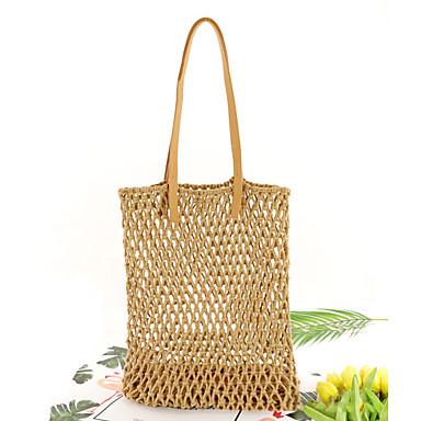 Γυναικεία Άχυρο Τσάντα χειρός Συμπαγές Χρώμα Γκρίζο / Καφέ / Dusty Rose / Φθινόπωρο & Χειμώνας