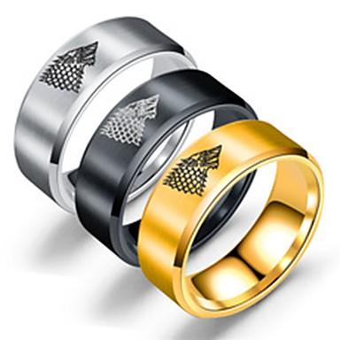billige Motering-Herre Band Ring Ring Tail Ring 1pc Gull Svart Sølv Rustfritt Stål Titanium Stål Sirkelformet Grunnleggende Mote Fest Daglig Smykker Ulv Kul