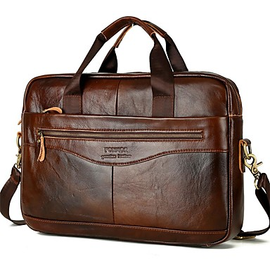 cheap Briefcases-Men's Bags Nappa Leather / Cowhide Laptop Bag / Briefcase / Top Handle Bag Belt Zipper Solid Color for Daily Dark Brown / Fall & Winter