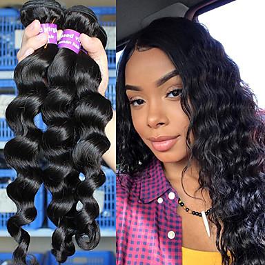 """economico Onde di capelli veri-3 pacchetti Brasiliano Onda sciolta Cappelli veri Un pacchetto di soluzioni 10""""-26"""" Naturale Tessiture capelli umani Estensioni dei capelli umani"""