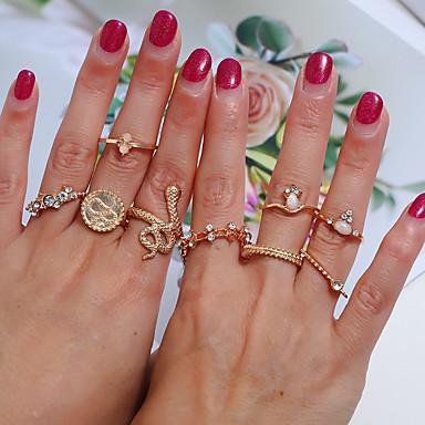 billige Motering-Dame Ring Ring Set 9pcs Gull Legering Enkel Klassisk Vintage Daglig Gate Smykker Klassisk Retro Slange Kul Smuk