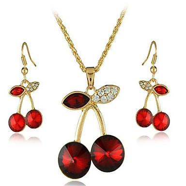 levne Dámské šperky-Dámské Křišťál Svatební šperky Soupravy Geometrické Třešňová stylové Pozlacené Náušnice Šperky Červená Pro Párty Denní 1 sada