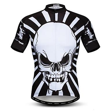 21Grams Ανδρικά Κοντομάνικο Φανέλα ποδηλασίας Μαύρο Νεκροκεφαλές Ποδήλατο Αθλητική μπλούζα Μπολύζες Ποδηλασία Βουνού Ποδηλασία Δρόμου Αναπνέει Ύγρανση Γρήγορο Στέγνωμα Αθλητισμός / Ελαστίνη / Λίκρα