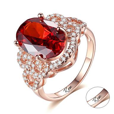 personlig tilpasset Rød Rubin Ring Zirkonium Klassisk Indgraveret Gave Love Festival Oval 1pcs Rød / Laser gravering