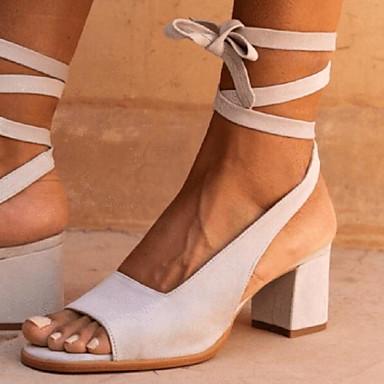 preiswerte Modische Sandalen-Damen Sandalen Blockabsatz Schnalle Wildleder Sommer Braun / Blau / Beige