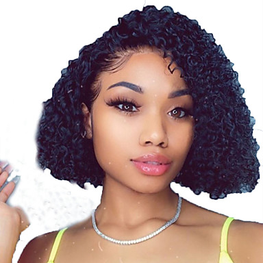 109 99 Human Hair Lace Front Wig Bob Short Bob Side Part Style Brazilian Hair Curly Wavy Black Wig 130 Density With Baby Hair Natural Hairline For