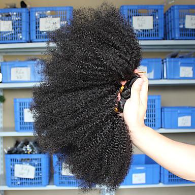 halpa Aitohiusperuukit-3 pakettia Hiuskudokset Mongolialainen Afro Kinky Hiukset Extensions Remy-hius 100% Remy Hair Weave -paketit 300 g Hiukset kutoo Aitohiuspidennykset 8-26 inch Luonnollinen väri Luonto musta Shedding