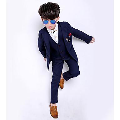 povoljno Odjeća za dječake-Djeca Dječaci Osnovni Jednobojni Dugih rukava Pamuk Odijelo i sako Plava
