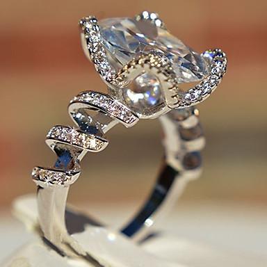 billige Motering-Dame Band Ring Ring Kubisk Zirkonium 1pc Hvit Kobber Geometrisk Form Stilfull Luksus Fest Gave Smykker Klassisk Kul