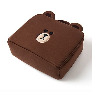 Bomull Glidelås Kosmetisk Bag Daglig Gul / kaffe