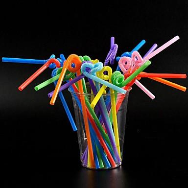 Yiwu ho1070qm3esk εύκαμπτο πλαστικό χρώμα καλαμάκια 100pcs / πακέτο